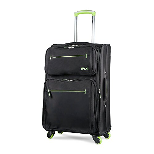 24 Soft Sided Luggage Accent, Combines Modern Styling and Superior Quality With Hybrid Polyster Material - Black &Green
