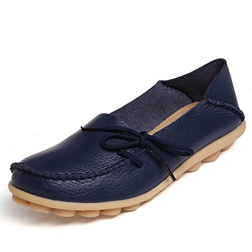 iLory Women's Casual Flat Shoes Leather Loafers Comfortable Driving Shoes Boat Shoes Dark Blue 3mJCVm