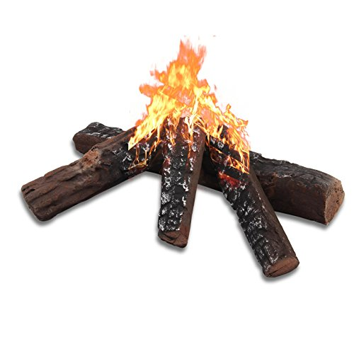 Gas Logs, Set of 4 Fireplace Ceramic Wood for Indoor, Gas Inserts, Ventless & Vent Free, Propane, Gel, Ethanol, Electric, or Outdoor Fireplaces & Fire Pits Decoration (4PCS)