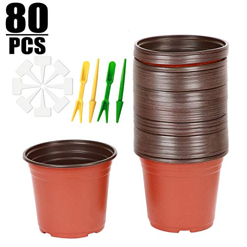 KINJOEK Plant Pots, 80 Pcs 6 Inches Plastic Plants Nursery Pots Flower Plant Container Seed Starting Planter Nursery Pots for Seedlings Transplants Indoor, Outdoor, Garden,Yard and Park