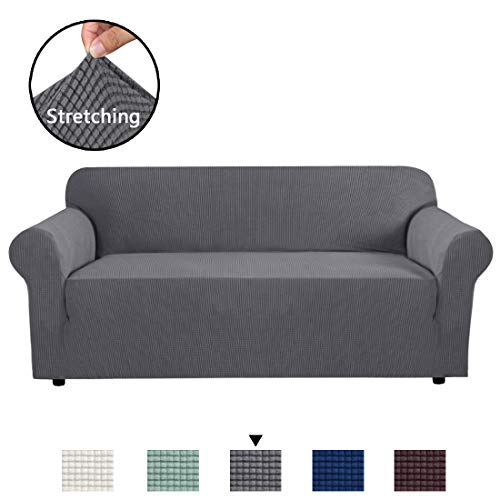 H.VERSAILTEX High Stretch Sofa Cover 1 Piece Couch Covers, Lounge Covers for 3 Cushion Couch, Sofa Slipcover for Living Room, Sofa Cover Stretch, Lycra Jacquard Sofa Slipcover 3 Cushion (Sofa: Gray)