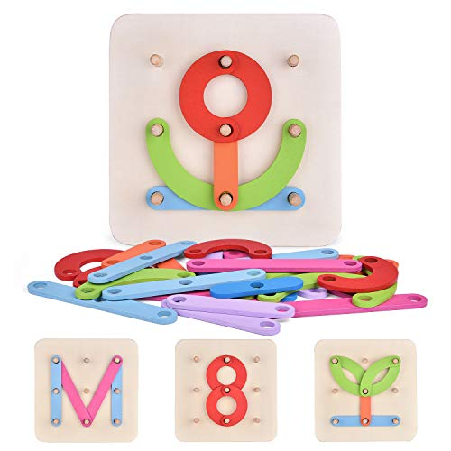 Wooden Alphabet Learning Toys for Toddlers, Letters and Numbers Recognition Toy, Preschool Educational Toys