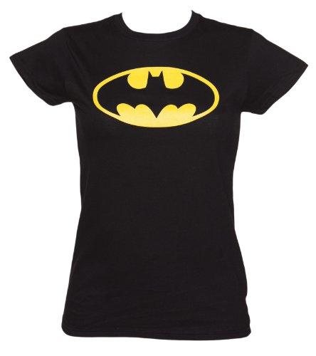 Womens Black Batman Logo DC Comics T Shirt - Superhero And Villain -