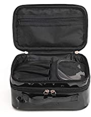 ONEGenug Cosmetics Bag, Double Layer Makeup Bag with Mirror Beauty Makeup Brush Bags Travel Kit Organizer,Cosmetic Bag Professional Multifunctional Organiser for Women,Size S Black