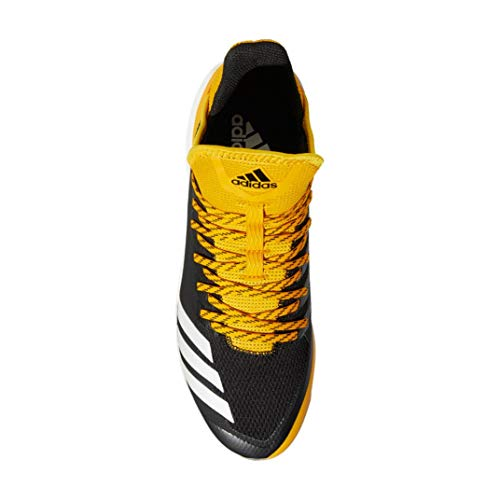 Image of the adidas Icon 4 Cleat Men's Baseball 14 Black-Cloud White-Yellow