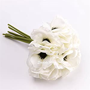 """silk white anemone bouquet Home Furnishing decorative flowers 3.9""""bloomx9.4"""" tall 2"""