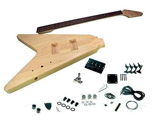 Solo FV Style DIY Bass Guitar Kit, Basswood Body, Maple Neck