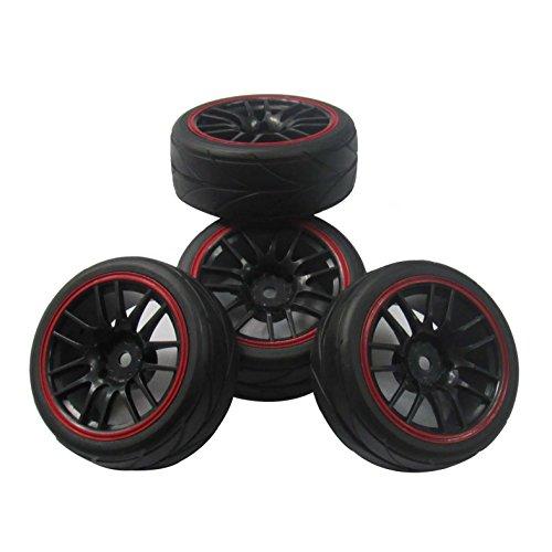 Hobbypower 12mm Hub Wheel Rims & Rubber Tires for RC 1/10 on-road Touring Drift Car (pack of 4 pcs)