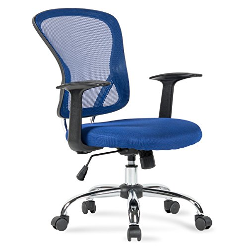 Belleze Mid Back Office Chair Breathable Mesh Swivel Adjustasble Lumbar Support Task Desk Seat, Blue (Office Chair Blue)