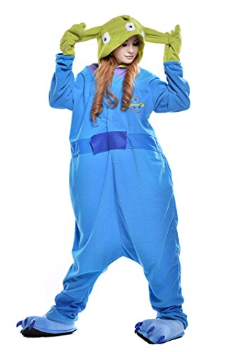 NEWCOSPLAY Adult Anime Unisex Pyjamas Halloween Onesie Costume (Medium, Alien) -