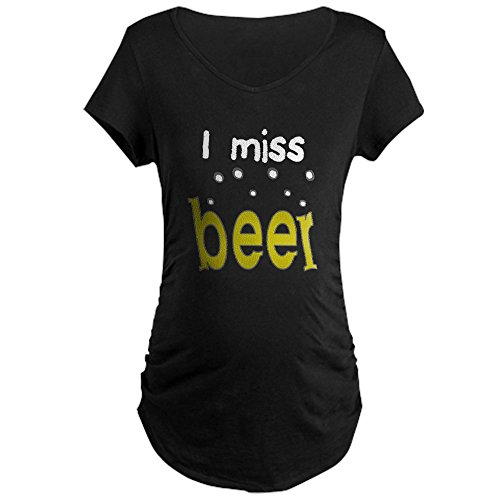 CafePress I Miss Beer Maternity Dark T Shirt Cotton Maternity T-Shirt, Side Ruched Scoop Neck Black Beer Womens Scoop Neck T-shirt