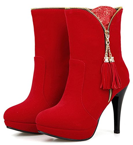 IDIFU Womens Sexy Fringes Platform High Heels Stiletto Boots Side Zipper Faux Suede Ankle Booties Red 8FkKK