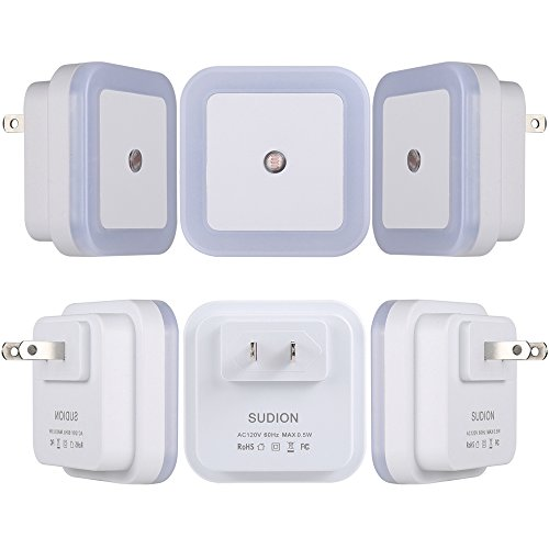 LED Night Light, SUDION Smart Sensor Light Nightlights for Children Adults with Dusk to Dawn Sensor, Plug in Wall Light Night for Bedroom Bathroom Hallway Baby Nursery(Daylight White, 6-Pack)