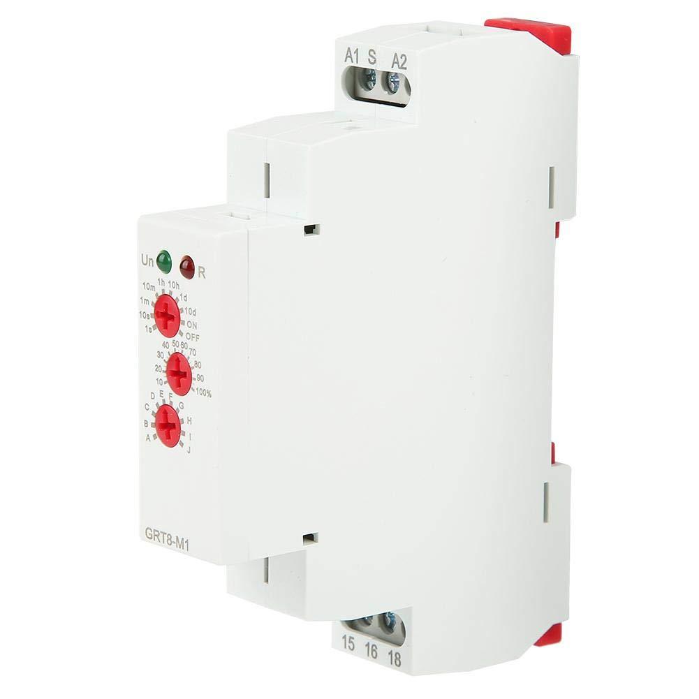 GRT8-M1 Relais de minuterie Relais de minuterie multifonctionnel 10 Fonctions Montage sur rail DIN NO NC 0.1s-10 jours AC 220V
