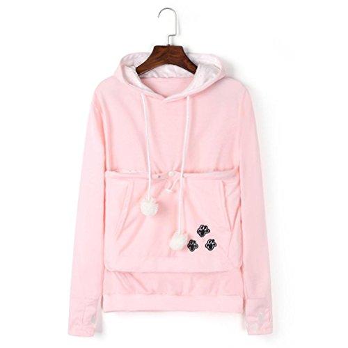 Holder Maniche Canguro Marsupio Grande Rosa Sweatshirt Con Cappuccio Donna Tasca Byste Felpa Cat Autunno Hoody Hoodie Pullover Cappotto Lunghe RWA74P4n