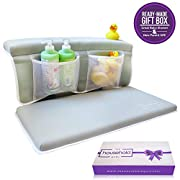 Premium XL Baby Bath Kneeler & Elbow Rest Pad Baby Bathtub Set - Extra Wide Thick Comfortable Cushions - Large Mesh Storage Pockets Organize Baby Bath Accessories - Gift Box Included!
