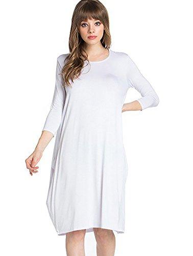 - 12 Ami Round Neck 3/4 Sleeve Tulip Hem Midi Dress White XL