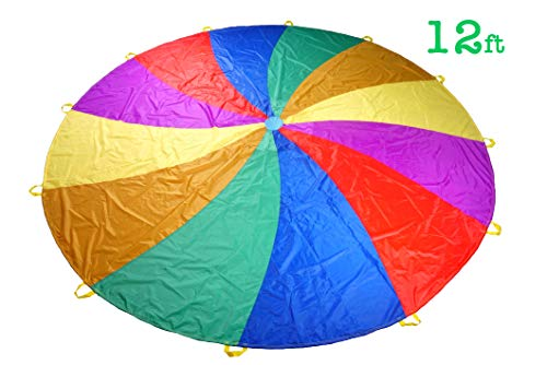 NARMAY Play Parachute for Kids Rotating Rainbow with 12 Handles - 12 Feet]()