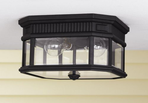 Two Light Black Clear Beveled Glass Outdoor Flush Mount OL5413BK ()