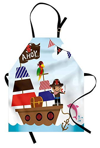 Ambesonne Ahoy Its a Boy Apron, Pirate Kids Treasure Chest with Ship on Ocean Background Illustration, Unisex Kitchen Bib with Adjustable Neck for Cooking Gardening, Adult Size, Blue -