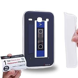 Case88 [Samsung Galaxy Core i8260 / i8262] Gel TPU Carcasa/Funda & Tarjeta de garantía - Art Retro Cassette Tape Grey And Blue