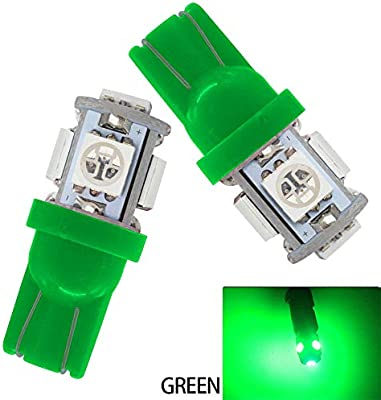 JAVR Pack of 20 5th Generation 5050 Chipsets 5SMD Lighting Source for 24V DC License Plate Map Dome Lights Lamp Bright Green 194 T10 168 2825 W5W Car Interior Replacement LED Light Bulb
