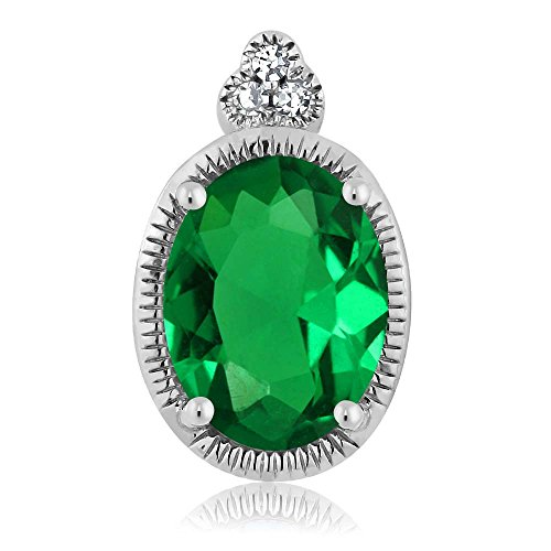 Gem Stone King 10K White Gold Oval Green Simulated Emerald Diamond Pendant 0.6 cttw