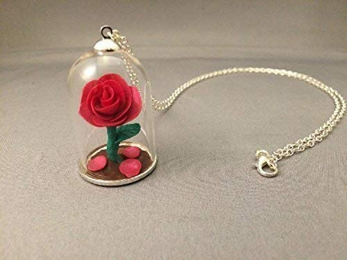 afb7f8ff2b Beauty and the Beast Pink Rose Necklace, FREE SHIPPING, Beauty and the Beast,  Beauty and the Beast Rose, Rose necklace,Silver Beauty and the Beast  necklace
