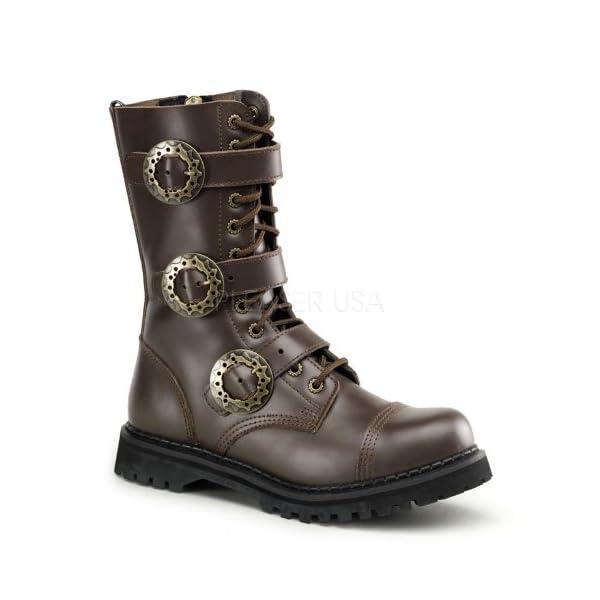 Demonia by Pleaser Men's STEAM-12 Steampunk Brown Leather Boot 5 B(M) US 3