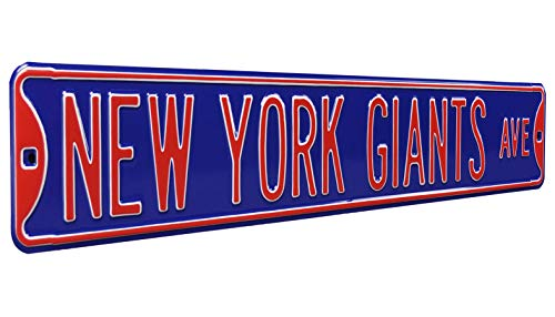 Fremont Die NFL New York Giants Blue Metal Wall Décor- Large, Heavy Duty Steel Street Sign