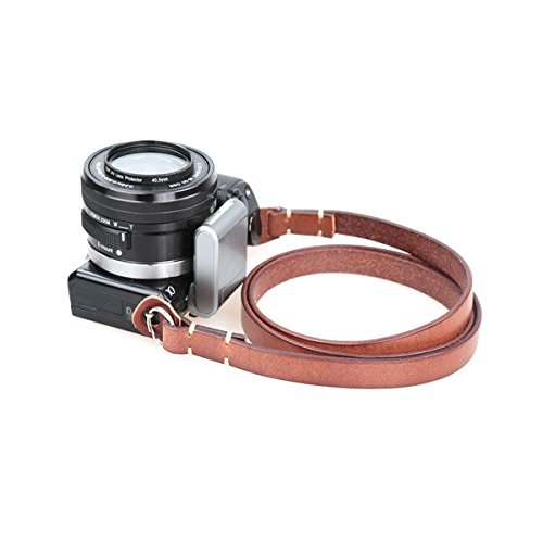 candyanglehome Retro Straight Handmade Supple Genuine Leather Camera Shoulder Neck Strap With Metal Ring For SLR & MICRO Cameras Leica, Fujifilm, Sony, Nikon ETC(Black/Brown), Brown