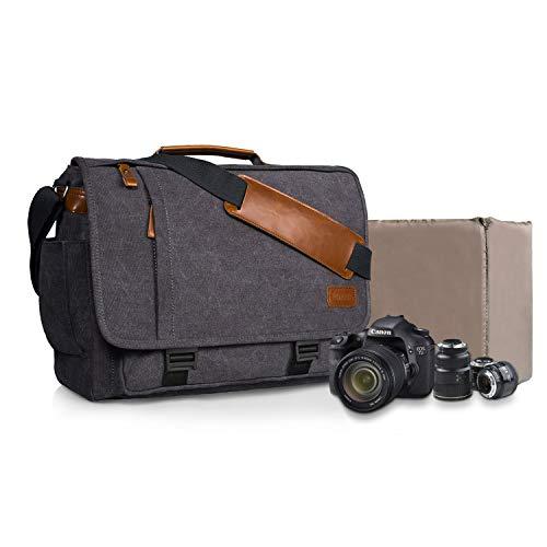 Estarer Camera Messenger Bag for SLR/DSLR Digital Cameras Laptop 15.6inch Shoulder Bag with Camera Insert Sleeve