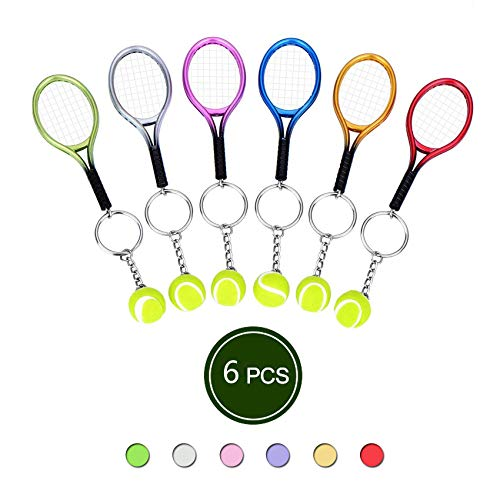 Mini Tennis Ball and Racket Model Keychain Mental Novelty Handbag Lover Sport - 6 Pack ()