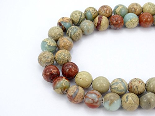 jennysun2010 Natural Colorful Serpentine Gemstone 6mm Smooth Round Loose 60pcs Beads 1 Strand for Bracelet Necklace Earrings Jewelry Making Crafts Design (Serpentine Natural Gemstone Beads)