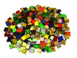 Colored Mirror Tiles - Jennifer's Mosaics 1-Pound Variety Mosaic Mirror Tile, Assorted Colors