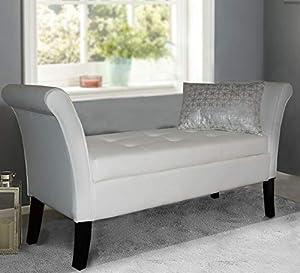 Window Seat Easy to Assemble Stripe Velvet Ottoman Storage Bed End Sofa Bench