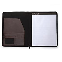 Samsill Vintage Hardback Zipper Padfolio, Business and Interview Portfolio, Refillable Letter Size Writing Pad, Dark Brown