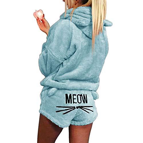 2 Stks Vrouwen Kat Borduurwerk Hooded Pyjama Leuke Meisjes Kat Oor Nachtkleding Zachte Badjas Shorts Winter Lounge…