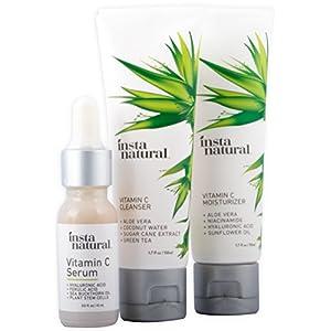 Vitamin C Skin Trio Bundle - 30 Day Starter Kit - Cleanser, Serum, & Moisturizer Combo - Natural & Organic Anti Aging Face Treatment - Reduces Wrinkles, Dark Circles & Boost Collagen - InstaNatural