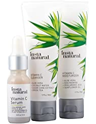 Vitamin C Skin Trio Bundle - 30 Day Starter Kit - Cleanser, Serum, & Moisturizer Combo - Natural & Organic Anti Aging Face Treatment - Reduces Wrinkles, Dark Circles & Boost Collagen - InstaNatural