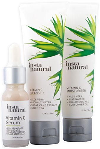 Vitamin C Skin Trio Bundle – 30 Day Starter Kit – Cleanser, Serum, & Moisturizer Combo – Natural & Organic Anti Aging Face Treatment – Reduces Wrinkles, Dark Circles & Boost Collagen – InstaNatural