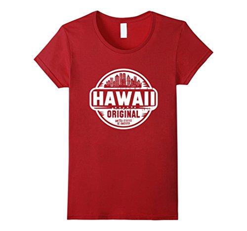 Womens Hawaii Home Tshirt Large Cranberry