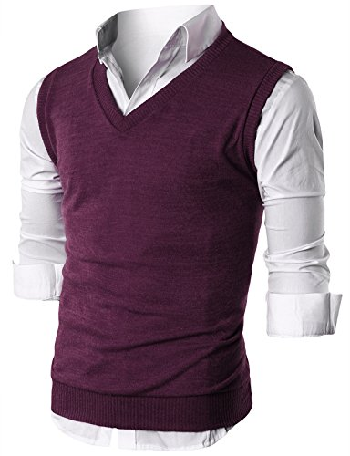 Ohoo Mens Slim Fit Casual V-Neck Knit -