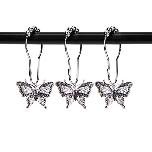 ZILucky Set of 12 Butterfly Decorative Shower Curtain Hooks Garden Nature Insect Style Theme Home Shower Curtain Rings Decor Accessories Bathroom Rustproof (Silver)