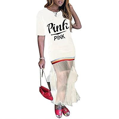 OLUOLIN Women Sexy Rainbow Stripe Short Sleeve Letter Graphic Print See Through Mesh Layered Long Maxi Dress