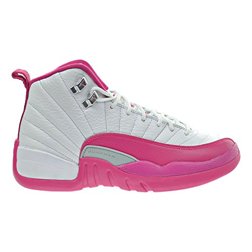 Air Jordan 12 Retro GG Big Kid's Shoes White/Vivid Pink/Metallic Silver 510815-109 (5.5 M US) by Jordan