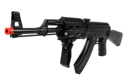 velocity airsoft ak-47p spring airsoft gun fps-250 w/ vertical foregrip, attachable tactical flashlight(Airsoft Gun)