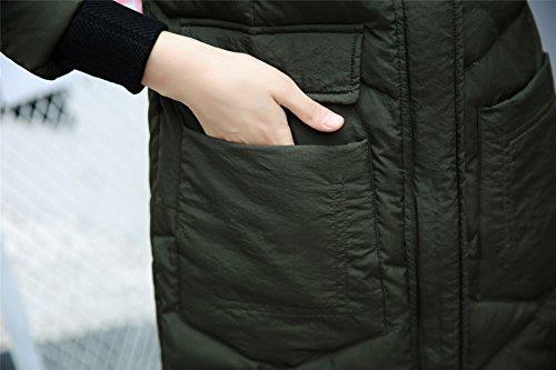 Capucha Armado Con Verde Invierno Acolchado Mujer Chaqueta Abrigo Piel Cálido Acvip De Faux qwSHYx1B4