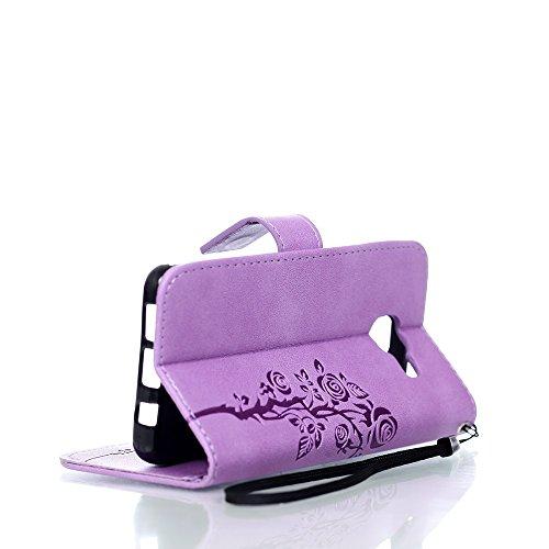 JIALUN-Personality teléfono shell Samsung A310 correa de la funda del estuche de la funda de cuero sintético de la PU cartera de la caja de la caja de la caja de la caja del patrón de flores grabado e Purple