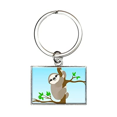Sloth Just Hanging Around Rectangle Keychain Key Ring - Made On Terra